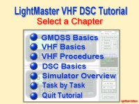Chapter Index of VHF Radio Tutor showing GMDSS VHF and DSC topics.